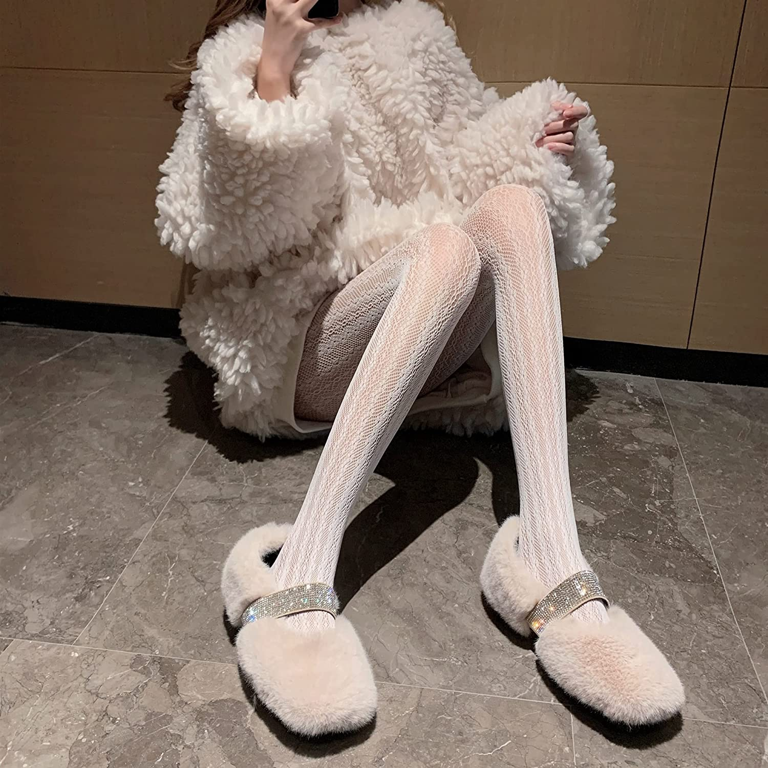 Scnque Sexy Fishnet Stockings Wear Leggings Tights, Lace Beautiful Leg Socks, Pantyhose for Teenagers (Color : White, Size : One Size)