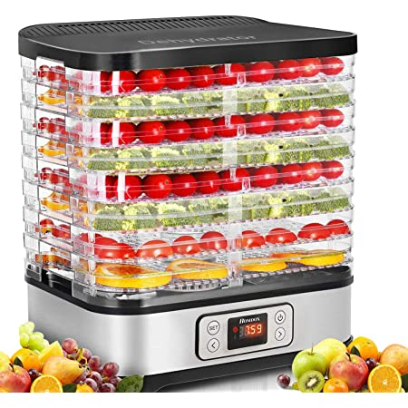 Homdox Food Dehydrator Machine with Digital Timer and Temperature Control, 8 Trays Dehydrators for Food and Jerky, Meat, Fruit, Vegetable, Herbs, BPA Free/400 Watt/Updated
