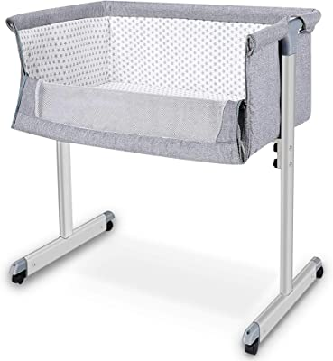 Baby Crib, Baby Bedside Sleeper, Newborn Baby Bassinet, w/Detachable & Washable Mattress, Straps, Easy Folding Movable Cradle for Newborn Infants, Angle Adjustable, Breathable Mesh