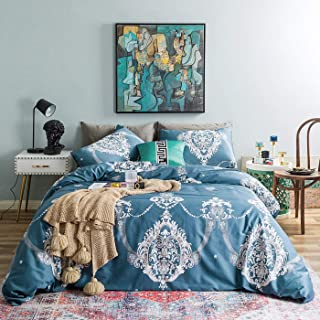 YuHeGuoJi 3 Pieces Duvet Cover Set 100% Egyptian Cotton King Size Teal Paisley Bedding Set 1 Damask Medallion Print Duvet Cover with Ties 2 Pillowcases Hotel Quality Soft Silky Breathable Easy Care