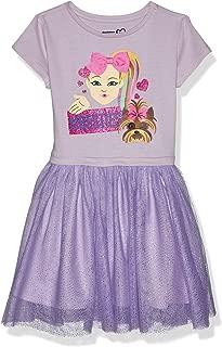 JoJo Siwa Girls J6SS212-9S68#Besties Emoji JoJo Bow Bow Siwa Tutu Dress with Tulle Skirt Short Sleeve Casual Dress