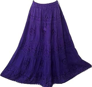 fa6b170eaee2 Doorwaytofashion Cotton and Lace Embroidered Peasant Gypsy Boho Casual  Festival Summer Skirt UK One Size 10