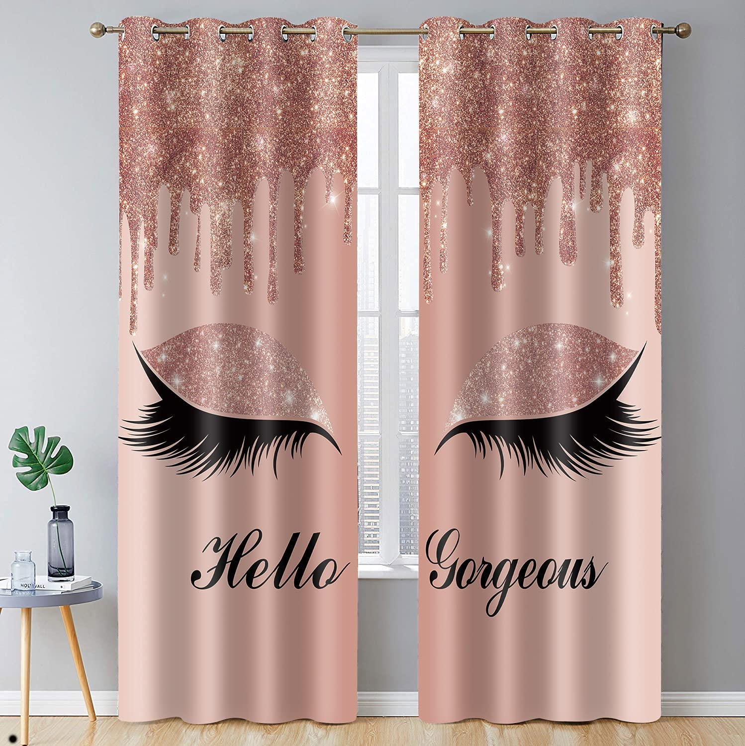 BSPPTI Hello Gorgeous Unicorn Eyelash Print Curtain, Rose Gold Drips (No Glitter No Sequin) Room Darkening Thermal Insulated Blackout Window Drapes for Living, Bedroom, 42