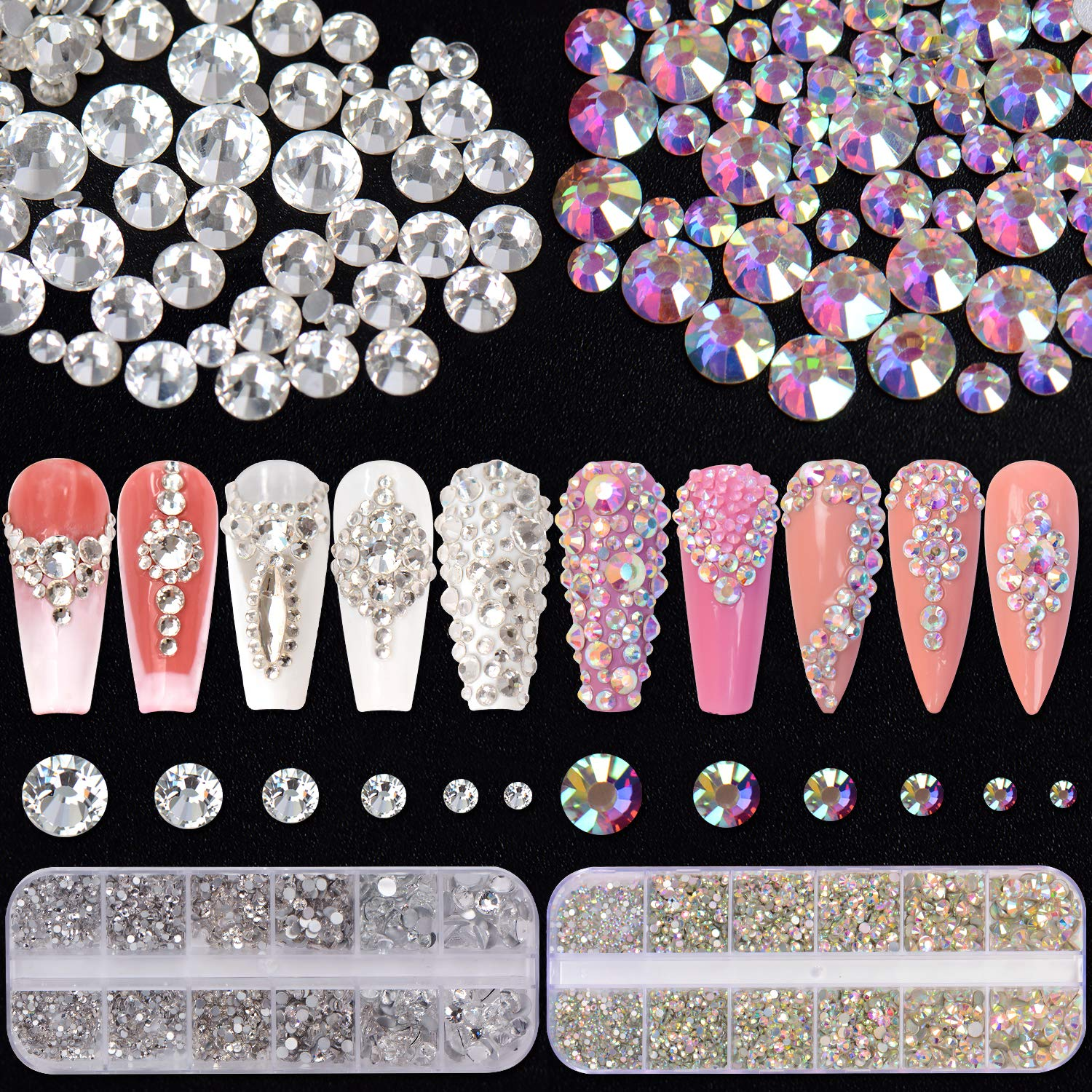 5400 Pieces Crystal Nail Rhinestones Set, Spearlcable Glass Flat Back Round Clear & AB Nail Gems for Crafts Nail Art Clothes Shoes Bags DIY (Color A)