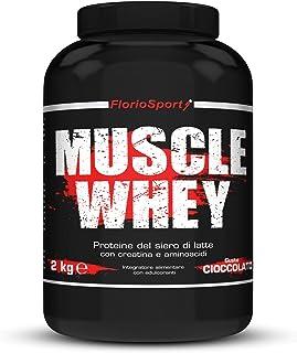FlorioSport, Muscle Whey, 2 Kg Proteine del Siero Latte con Creatina Taurina Aminoacidi Per la crescita ed il mantenimento...