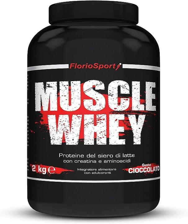 Proteine del siero latte con creatina taurina aminoacidi floriosport, muscle whey, 2 kg B08DDDPBC2