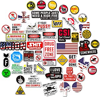 Hard Hat Stickers [Big 50 PCS] – Funny Sticker for Tool Box Helmet Welding..