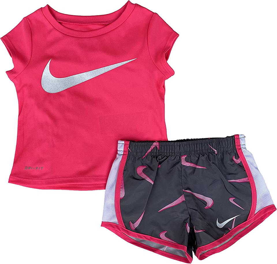 Nike Little Girls' Dri-Fit Swoosh All Over Print T-Shirt and Shorts 2 Piece Set