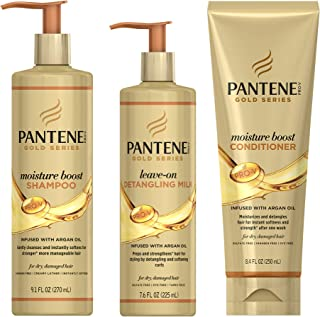 Pantene, Shampoo, Conditioner, and Detangling Milk Hair Treatment Kit, with Argan Oil, Sulfate Free, Pro-V Gold Series, for Natural and Curly Textured Hair