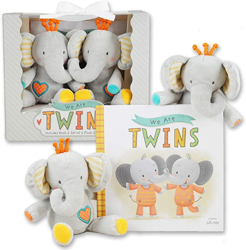 We Are Twins Baby And Toddler Twin Gift Set Includes Keepsake Book And Set Of 2 Plush Elephant Rattles For Boys And Girls Perfect For Newborn Infant Baby Shower Toddler Birthday Christmas