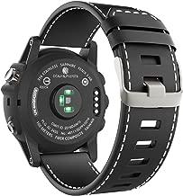 MoKo Watch Band Compatible with Garmin Fenix 3/Fenix 5X, Genuine Leather Watch Band Strap Fit Garmin Fenix 3/Fenix 3 HR/Fenix 5X/5X Plus/D2 Delta PX/Descent mk1 Smart Watch, Black