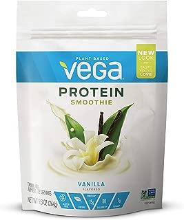 Vega Protein Smoothie, Vanilla, 12 Servings, 9.3 oz Pouch, Plant Based Vegan Protein Powder, Keto-Friendly, Gluten Free, Non Dairy, Vegan, Non Soy, Stevia Free, Non GMO