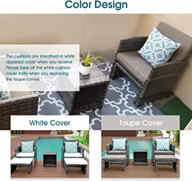 OC Orange-Casual Wicker Patio Furniture Set Rattan Patio Chair Set with Ottoman, Pillows Included, Perfect for Balcony, Small