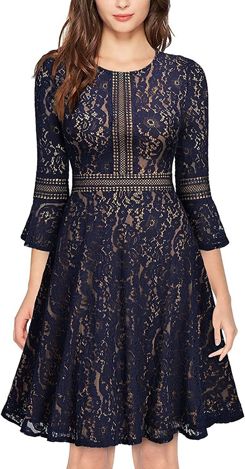 Glamulice Women's Christmas Vintage Floral Lace Dress Swing Cocktail ALine Party Dresses