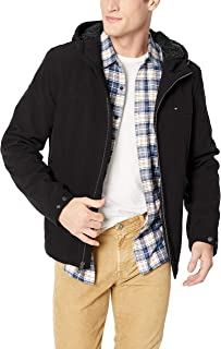 Men's Filled Soft Shell Hooded Open Bottom Jacket with Full Sherpa Lining