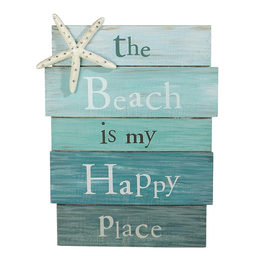 望むヘッドレス分数The Beach Is My Happy Place - 板材 看板 ヒトデとラインストーンのアクセント付き 12 x 9インチ