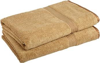 مجموعة مناشف من القطن الممشط طويلة التيلة 600 GSM من Superior ، باللون الذهبي، منشفة حمام (2 قطعة)