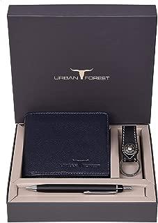 Urban Forest James Leather Wallet Combo for Men - Classic Blue Men's Leather Wallet, Keyring & Pen Combo Gift Set for Men