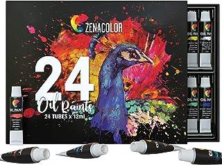 24 Colori ad Olio per Pittura Zenacolor - Kit Pittura ad Olio da 24 x 12mL - Qualità Superiore per Tela per Pittura - 24 C...