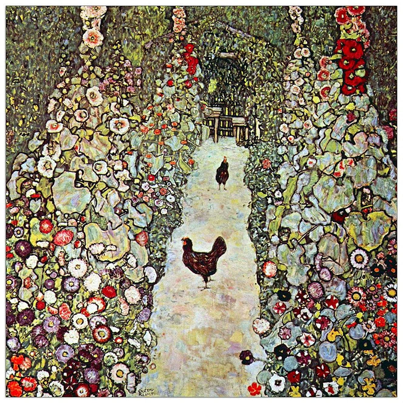 ArtPlaza TW90322 Klimt Gustav - Garden Path with Chickens Decorative Panel 15.5x15.5 Inch Multicolored