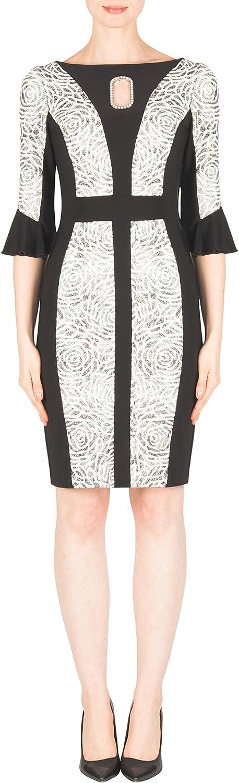 Joseph Ribkoff  183568 Woman's Black Ivory Silver Pearl Accent Dress