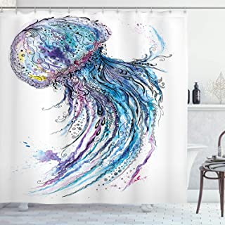 Ambesonne Jellyfish Shower Curtain, Aqua Colors Art Ocean Animal Print Sketch Style Creative Sea Marine Theme, Cloth Fabric Bathroom Decor Set with Hooks, 70