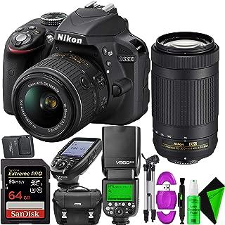 Nikon D3300 DSLR Camera (Black) + Nikon 70-300mm Lens + Nikon 18-55mm Lens + 64GB PRO Memory Card + GODOX Flash (TTL) with Built-in Receiver
