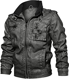Men's Fall Faux Leather Jacket Vintage Stand Collar Zipper Pu Leather Biker Jackets