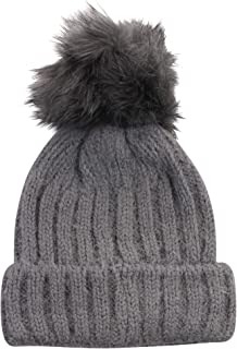 Womens Knitted Winter Faux Fur Pom Beanie Hat