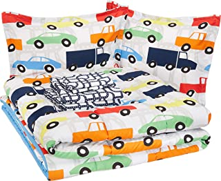 AmazonBasics Easy-Wash Microfiber Kid's Bed-in-a-Bag Bedding Set - Full or Queen, Multi-Color Racing Cars