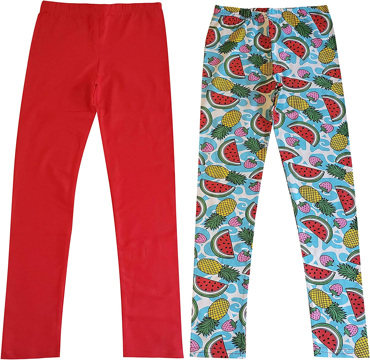 MISS POPULAR 5-Pack Girls Leggings Sizes 4-16 Soft Comfortable Cotton Spandex with Elastic Waistband Many Colors