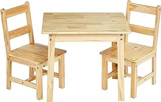 AmazonBasics Kids Solid Wood Table and 2 Chair Set, Natural