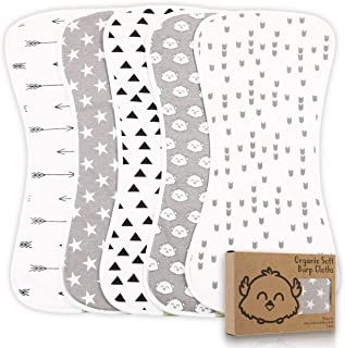 Organic Burp Cloths for Baby Boys and Girls – 5-Pack Ultra Absorbent Burping Cloth,..