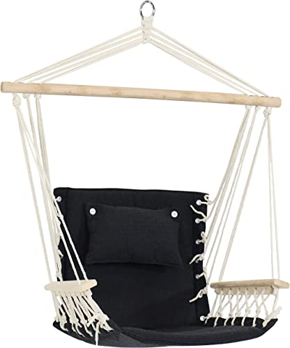 new arrival Sunnydaze Polycotton new arrival Hammock Chair with Armrests - Comfortable Outdoor Hanging popular Chair - Polycotton Fabric with Hardwood Spreader Bar - 300-Pound Weight Capacity - Storm outlet online sale