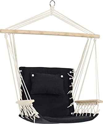 Sunnydaze Polycotton Hammock Chair with Armrests - Comfortable Outdoor Hanging Chair - Polycotton Fabric with Hardwood Spreader Bar - 300-Pound Weight Capacity - Storm