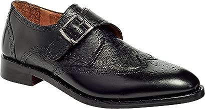 Anthony Veer Men's Roosevelt III Wingtip Monk Strap Goodyear Welt Black Leather Dress Wedding Formal Casual Shoes