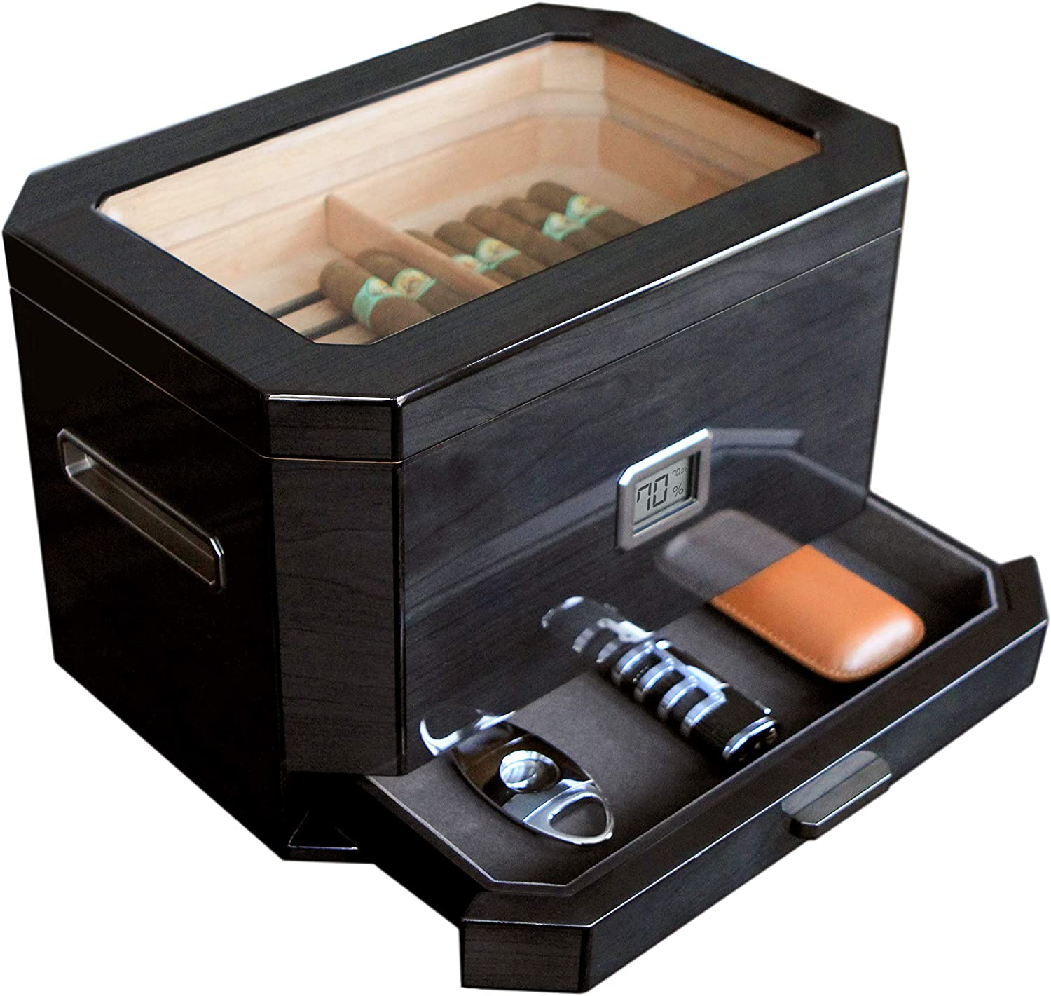 Octodor All items in the store Large Black Piano Finish Glass Di Cedar Top Sale item Humidor with