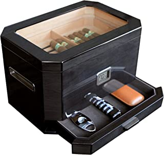 Octodor Large Black Piano Finish Glass Top Cedar Humidor with Digital Hygrometer, Humidification System, and Accessory Dra...