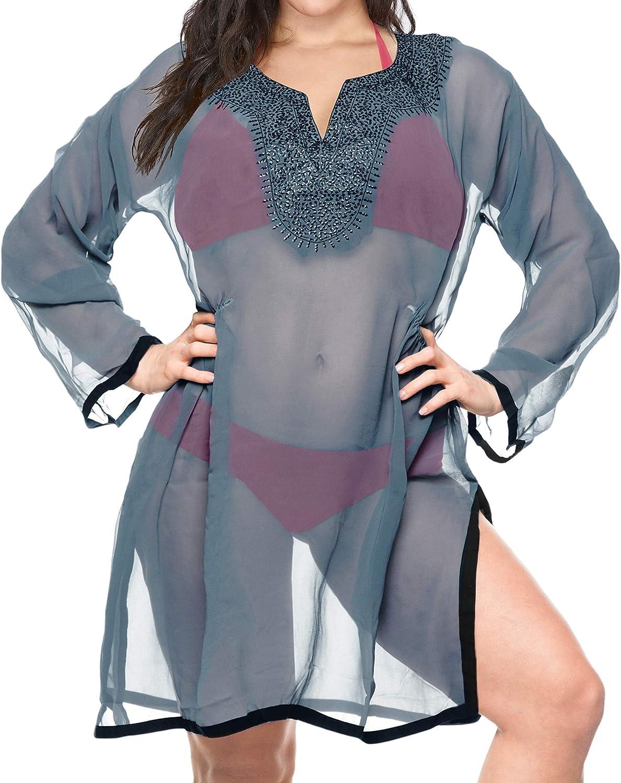 LA LEELA Women's One Size Elegant Loose Swing Beach Casual Aloha Dress Printed A