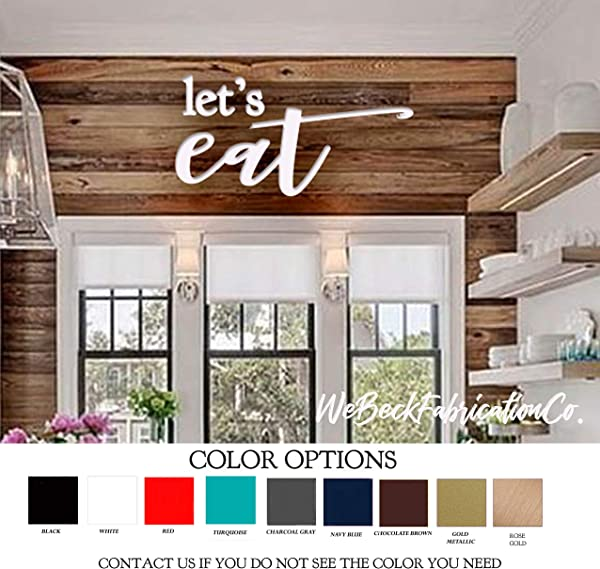 DASON Lets EAT Painted Wood Cut Words Letters Sign Wooden Cutout Wood Shapes Kitchen Colors Available Rose Gold Red Black Turquoise Navy Gray