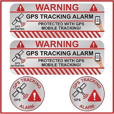 6 Stück Gps Aufkleber Innen Oder Außenklebend Fahrrad Motorrad Baumaschinen Auto Lkw Alarm Warnung Anti Diebstahl Sticker Tracker Gesichert R047 Innenklebend Baumarkt