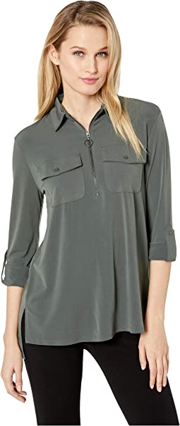 Zip-Up Front Blouse