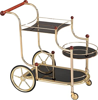 ACME Lacy Serving Cart - 98006 - Gold Plated - Cherry Wood & Black Glass