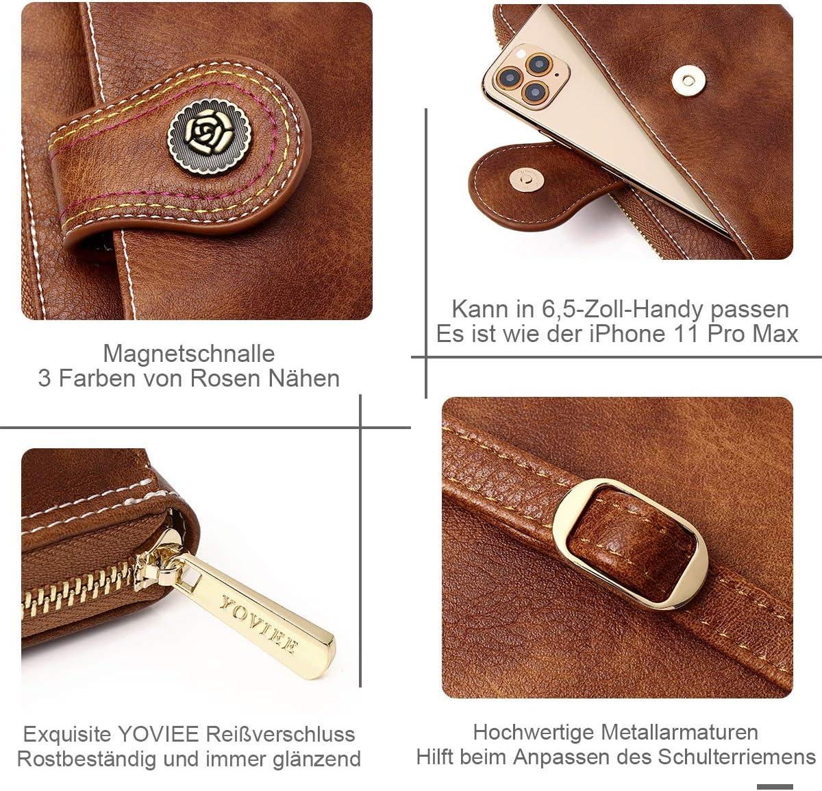 1030-2BLACK YOVIEE Damen Kleine Umh/ängetasche Handy Schultertasche Crossbody Handytasche Phone Bag PU Leder RFID-Schutz Verstellbar Schultergurt Geschenk-Box