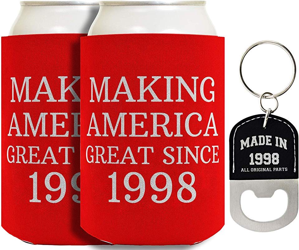 21st Birthday Gifts Making America Great Since 1998 2 Pack Can Coolies And Bottle Opener Keychain Bundle