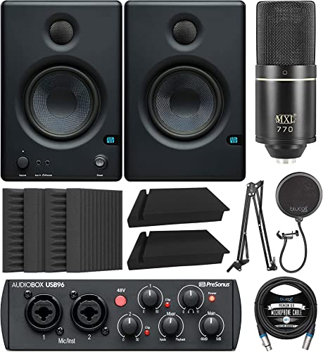 """new arrival PreSonus Eris E4.5 online sale 2-Way 4.5"""" Near Field Studio Monitor Bundle with AudioBox USB 96 Audio Interface, MXL 770 Microphone, Blucoil Isolation Pads, Boom outlet sale Arm Plus Pop Filter, Acoustic Wedges and XLR Cable sale"""