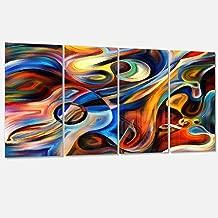 Designart Music and Rhythm-Abstract Metal Wall Art-MT6152-48x28-4 Panels, 28'' Hx48'' Wx1'' D 4P