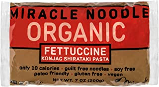 Miracle Noodle Organic Shiritaki Konjac Fettuccine Pasta, 7 oz (Pack of 6), Low Carbs, Low Calorie, Gluten Free, Soy Free, Keto Friendly