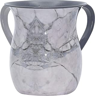The Kosher Cook Stainless Steel Netilat Yadayim Cup - Grey Stone Painted Design - Looks Like Ceramic - Rust, Break and Crack Proof Negel Vasser Cup - Judaica Gift Collection