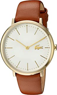 Women's Quartz Watch with Leather Calfskin Strap, Brown, 16 (Model: 2000947)